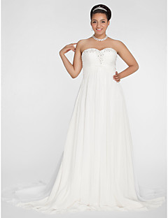 Lanting A-line/Princess Plus Sizes Wedding Dress - Ivory Court Train Sweetheart Chiffon