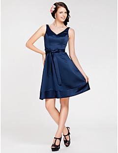 lanting la rodilla-longitud satinado vestido de dama - azul marino oscuro, más tamaños / pequeño Corte A / Princesa Escote en V / correas