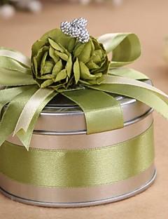 runde metall grønn favør tinn - sett med 6
