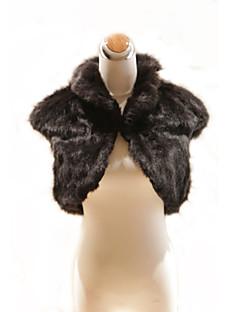 élégantes manches courtes col de fourrure noire à haute faux veste occasion spéciale / wrap