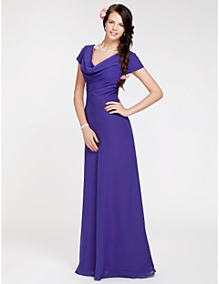 Lanting Bride® Floor-length Georgette Bridesmaid Dress Sheath / Column Cowl Plus Size / Petite with Side Draping