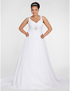 Lanting Bride® A-line Petite / Plus Sizes Wedding Dress - Chic & Modern Chapel Train V-neck Chiffon