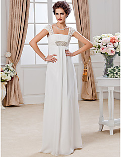 Sheath/Column Plus Sizes Wedding Dress - Ivory Floor-length Square Chiffon