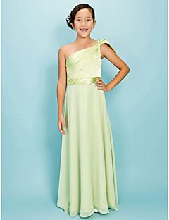 Lanting Bride® Floor-length Chiffon / Stretch Satin Junior Bridesmaid Dress A-line / Sheath / Column One Shoulder Natural withBow(s) /