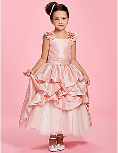 A-line/Princess Ankle-length Flower Girl Dress - Taffeta