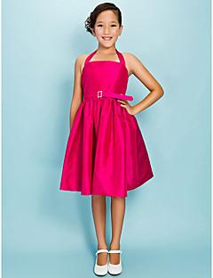 Plesové šaty Princess Lodičkový Ke kolenům Taft Šaty pro malou družičku s Nabírání Šerpa / Stuha Křišťálová brož podle LAN TING BRIDE®