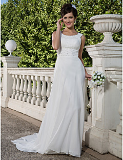 LAN TING BRIDE Sheath / Column Wedding Dress - Classic & Timeless See-Through Court Train Scoop Chiffon with Beading Draped