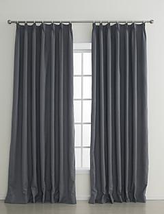 (Two Panels) Grey Embossed Flame-retardant Room Darkening Curtain