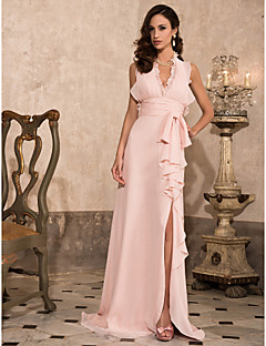 Formal Evening/Prom/Military Ball Dress - Pearl Pink Plus Sizes Sheath/Column Halter/V-neck Sweep/Brush Train Chiffon