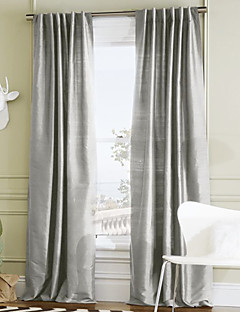 (Two Panels) Stylish Solid Polyester Energy Saving Curtain