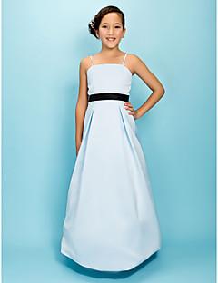 Lanting Bride® Tot de grond Satijn Junior bruidsmeisjesjurk A-lijn / Prinses Spaghettibandjes Naturel metStrik(ken) / Drapering / Sjerp /