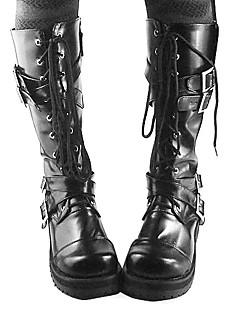 Håndlaget Svart PU Leather 4cm High Heel Gothic Lolita Boots
