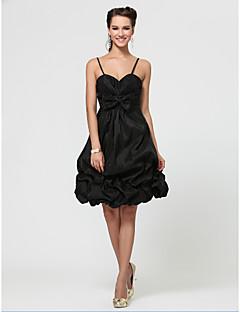Vestido - preto Festa de Casamento/Baile/Festa de Coquetel/Baile de Formatura Linha-A/Princesa Curação/Sem Alça/Alças Finas Coquetel