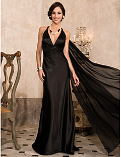 Formal Evening/Military Ball Dress - Black Plus Sizes Sheath/Column Halter/V-neck Sweep/Brush Train/Watteau Train Stretch Satin/Chiffon