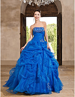 TS Couture Prom / Formal Evening / Quinceanera / Sweet 16 Dress - Ocean Blue Plus Sizes / Petite Princess / A-line / Ball Gown Strapless Floor-length