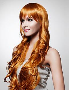 capless 특별히 긴 길이의 최고급 품질을 합성 황금 갈색 곱슬 머리 가발
