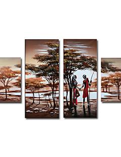 4 elle boyanmış yağlıboya insanların boy geniş seti