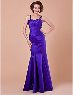 LAN TING BRIDE Trumpet / Mermaid Plus Size Petite Mother of the Bride Dress - Sexy Floor-length Sleeveless Satin withDraping Criss Cross