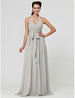 Floor-length Chiffon Bridesmaid Dress - Silver Plus Sizes A-line/Princess Halter/V-neck