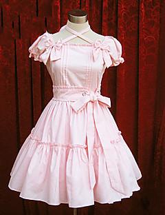 One-Piece/Dress Sweet Lolita Lolita Cosplay Lolita Dress Pink Blue Solid Short Sleeve Medium Length Dress For Cotton