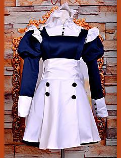 에서 영감을 받다 블랙 버틀러 Mey-Rin 에니메이션 코스프레 코스츔 코스프레 정장 / 드레스 패치 워크 화이트 긴 소매 드레스 / 머리띠