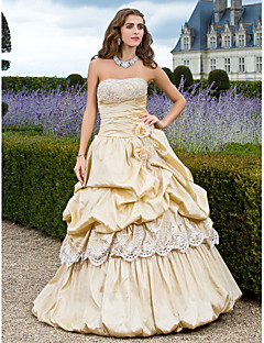 Prom/Formal Evening/Quinceanera/Sweet 16 Dress - Champagne Plus Sizes Ball Gown/A-line/Princess Strapless Floor-length Taffeta