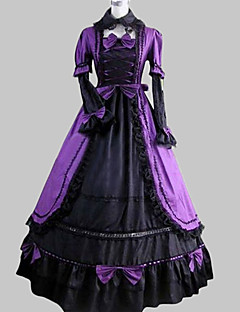 Long Sleeve Floor-length Purple Satin Cotton Aristocrat Lolita Dress