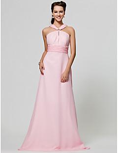 Lanting Bride® Floor-length Chiffon Bridesmaid Dress - A-line / Princess Straps Plus Size / Petite with Draping / Ruching