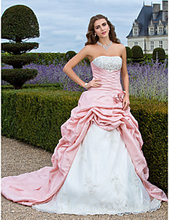Prom/Formal Evening/Quinceanera/Sweet 16 Dress - Pearl Pink Plus Sizes Ball Gown/A-line/Princess Strapless Court Train Taffeta/Organza