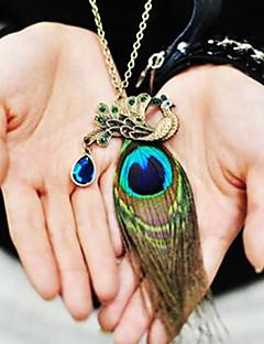女性の孔雀の羽ダイヤモンドヴィンテージネックレス
