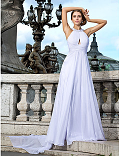 Formal Evening Dress - White Plus Sizes A-line/Princess Jewel Floor-length/Watteau Train Chiffon