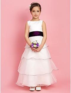 A-Lijn/Prinses Vloer Lengte Bloemenmeisje jurk - Stretch Satijn/Organza Mouwloos