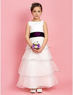 A-line/Princess Floor-length Flower Girl Dress - Stretch Satin/Organza Sleeveless
