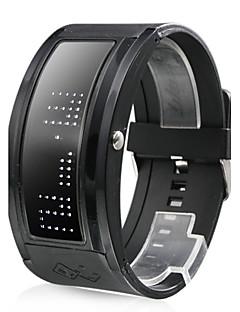 Hvid LED Sort Rem Armbåndsur med 10 Tegns Display