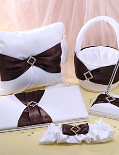 bruiloft collectie in wit satijn met bruine gordel (5 stuks)