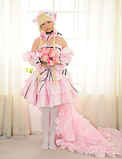 Inspired by Chobits Chii Anime Cosplay Costumes Cosplay Suits / Dresses Patchwork Pink Long Sleeve Skirt / Dress / Necklace / Sleeves