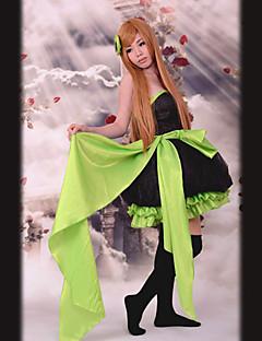 Cinta verde sin mangas de la rodilla-longitud Satén Negro Princesa Lolita vestido