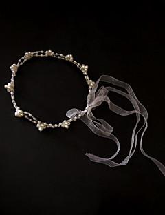 成人用 チュール 人造真珠 かぶと-結婚式 パーティー カジュアル ヘッドバンド