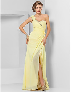Formal Evening/Prom/Military Ball Dress - Daffodil Plus Sizes Sheath/Column One Shoulder/Sweetheart Floor-length Chiffon