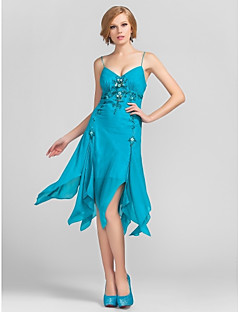 Homecoming Cocktail Party/Homecoming Dress Sheath/Column V-neck/Spaghetti Straps Knee-length Chiffon