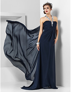 Formal Evening/Military Ball Dress - Dark Navy Plus Sizes Sheath/Column Halter Sweep/Brush Train/Watteau Train Chiffon