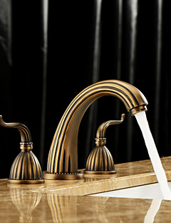 Hål med bredare avstånd Två handtag tre hål in Antik mässing Badrum Sink kran