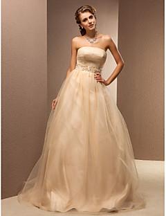 Lanting Bride A-line Petite / Plus Sizes Wedding Dress-Sweep/Brush Train Strapless Tulle