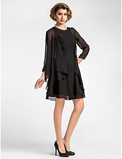 """כיסויי גוף לנשים מעילים / מעילים אורך שרוול 3/4 שיפון שחור חתונה / מסיבה / ערב צווארון רחב 39ס""""מ קפלים פתח חזית"""