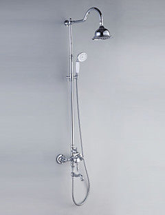 Shower Faucets Chrome Finish Contemporary Style with Diameter 16cm Shower Head + Hand Shower
