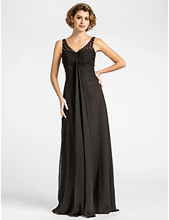 Lanting Sheath/Column Plus Sizes / Petite Mother of the Bride Dress - Black Floor-length Sleeveless Chiffon