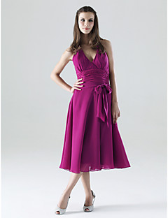 Lanting Bride® Tea-length Chiffon Bridesmaid Dress - A-line Halter / V-neck Plus Size / Petite with Bow(s) / Sash / Ribbon / Ruching