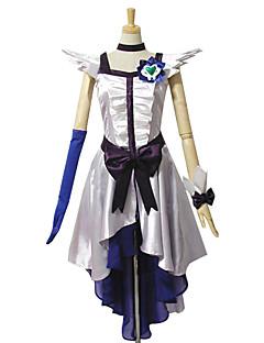 Inspirado por PrettyCure Cure Moonlight Anime Fantasias de Cosplay Ternos de Cosplay / Vestidos Patchwork Branco Sem MangasVestido / Peça