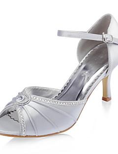 top de cetim de qualidade superior stiletto peep toe com salto sapatos da moda strass
