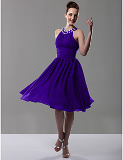 Lanting Bride® Knee-length Chiffon Bridesmaid Dress A-line / Princess Jewel Plus Size / Petite with Beading / Draping / Ruching / Pleats